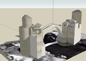 某歐式風格橋素材設計SU(草圖大師)模型