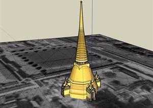 東南亞風格詳細塔素材設計SU(草圖大師)模型