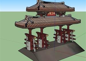 古典中式風格詳細完整的大門設計SU(草圖大師)模型