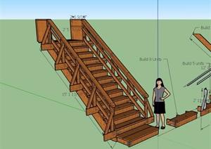 木質詳細的樓梯踏步素材設計SU(草圖大師)模型