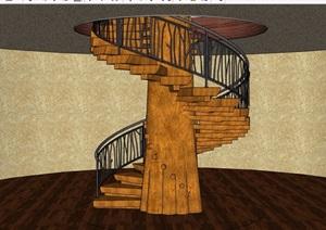 旋轉樓梯踏步素材設計SU(草圖大師)模型