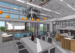 現代詳細的室內空間設計SU(草圖大師)模型