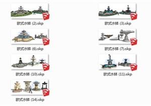 33種單體sketchup模型庫歐式水景水缽