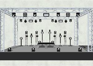 現代簡約鋼架舞臺場景SU(草圖大師)模型2