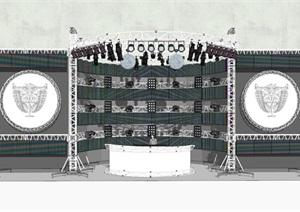 現代簡約鋼架舞臺場景SU(草圖大師)模型6