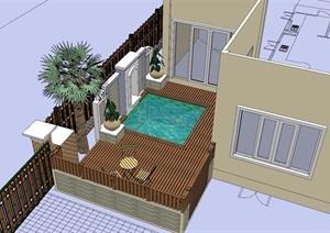 住宅小庭院景观SU(草图大师)模型