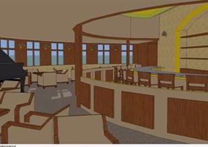 現代室內餐廳空間設計SU(草圖大師)模型