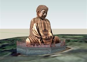 某古典中式风格佛像雕塑设计SU(草图大师)模型