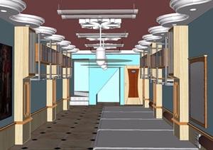 走廊過道素材設計SU(草圖大師)模型