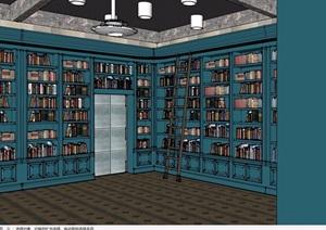 現代風格詳細圖書館室內SU(草圖大師)模型