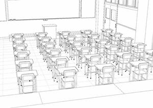 現代無材質貼圖教師室內SU(草圖大師)模型