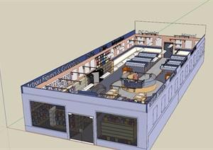 現代風格詳細室內圖書館素材設計SU(草圖大師)模型
