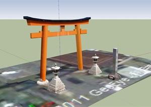 簡單現代風格大門SU(草圖大師)模型