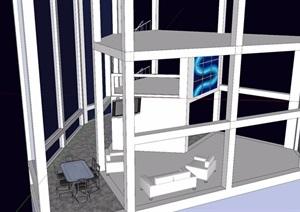 現代辦公室內空間SU(草圖大師)模型