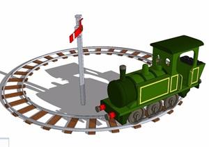 兒童游樂設施火車頭素材SU(草圖大師)模型