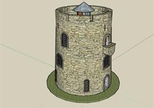 歐式風格防御塔設計SU(草圖大師)模型