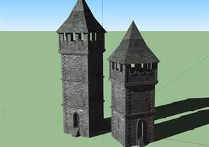 歐式風格瞭望塔設計SU(草圖大師)模型