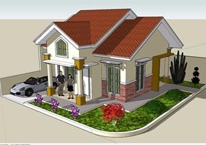 經典英式風格別墅建筑素材設計SU(草圖大師)模型