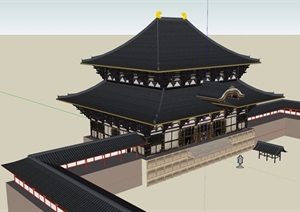 古典中式風格詳細經典寺廟SU(草圖大師)模型
