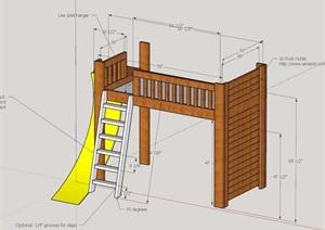 臥室獨特的床素材設計SU(草圖大師)模型