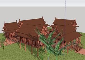 東南亞風格民宿別墅設計SU(草圖大師)模型