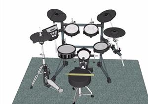 架子鼓樂器素材設計SU(草圖大師)模型