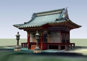 古典中式風格單層寺廟詳細SU(草圖大師)模型