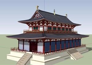 旅游區詳細建筑設計SU(草圖大師)模型