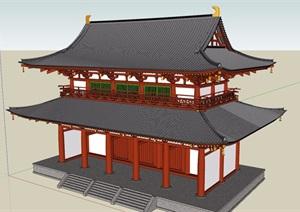 某古典中式旅游景區建筑設計SU(草圖大師)模型