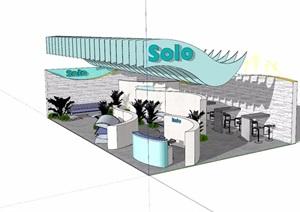 現代風格獨特展覽廳設計SU(草圖大師)模型