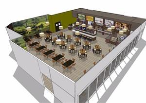 餐廳詳細室內空間SU(草圖大師)模型