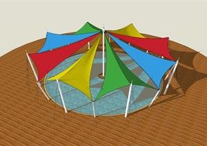 8面中心對稱-張拉膜構筑物