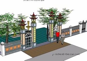 中式风格围墙大门SU(草图大师)模型