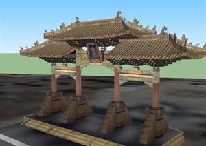 古典中式风格详细大门素材设计SU(草图大师)模型
