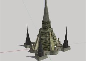 某现代风格旅游区塔素材设计SU(草图大师)模型