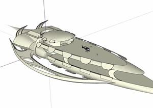 创意飞行船设计SU(草图大师)模型
