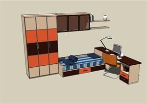 室内创意床柜素材设计SU(草图大师)模型