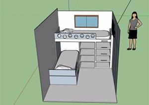 卧室高低床素材设计SU(草图大师)模型