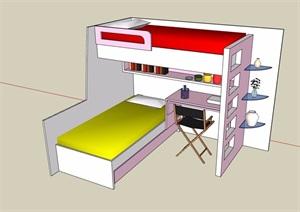 某详细完整的高低床素材设计SU(草图大师)模型