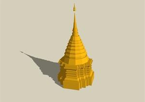 东南亚风格景观塔素材设计SU(草图大师)模型