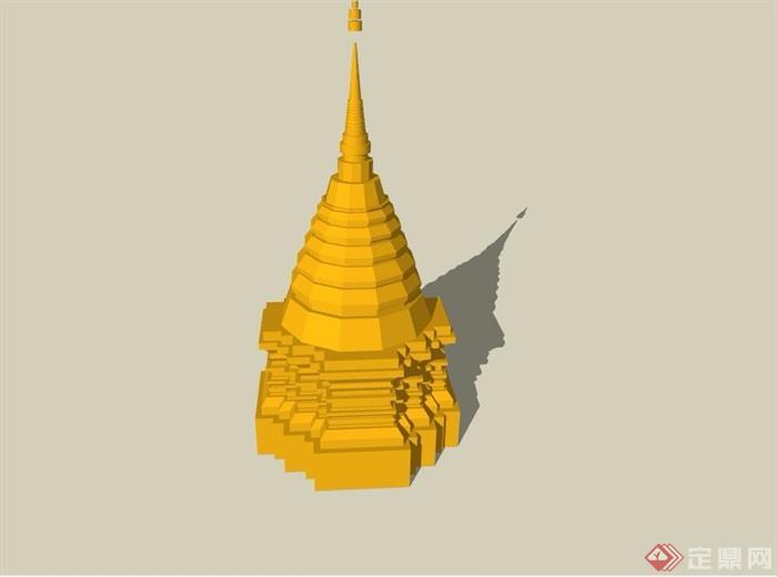 东南亚风格景观塔素材设计su模型[原创]