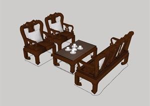 中式风格桌椅家具素材设计SU(草图大师)模型