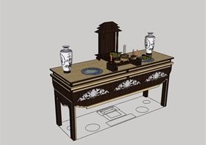 中式风格室内贡桌素材设计SU(草图大师)模型
