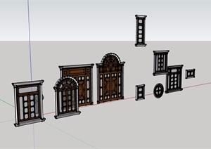 欧式风格窗素材设计SU(草图大师)模型