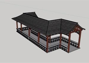 古典中式风格详细长廊亭设计SU(草图大师)模型