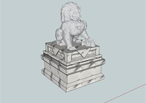 经典详细的石狮子雕塑素材设计SU(草图大师)模型