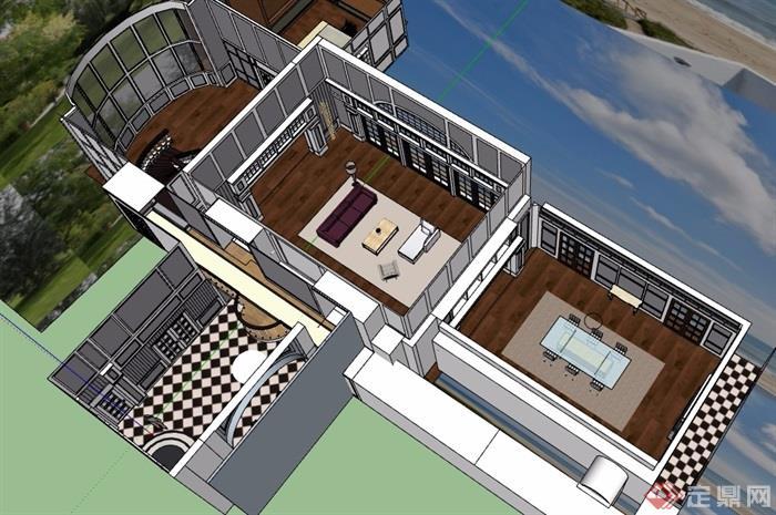 某现代风格客厅室内空间素材设计su模型[原创]