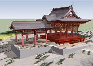 古典中式风格详细亭廊组合SU(草图大师)模型