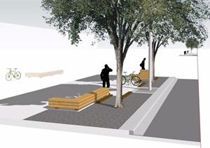 园林景观现代长条坐凳设计SU(草图大师)模型