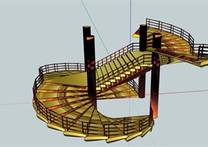 某詳細的樓梯素材是設計SU(草圖大師)模型
